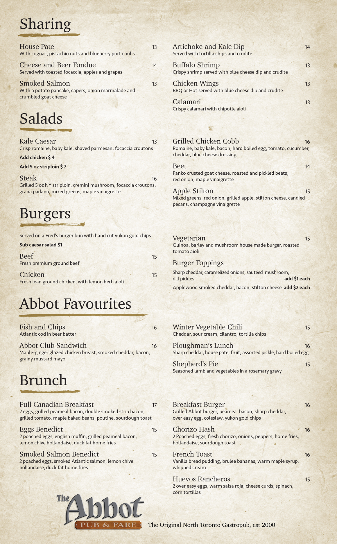 The Abbot Brunch Menu