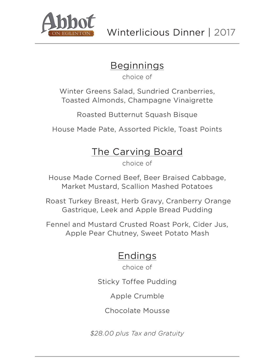 Abbot Winterlicious Dinner Menu